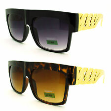 Thick Chain Gold Plastic Temple Oversized Flat Top Hip Hop Celebrity Sunglasses