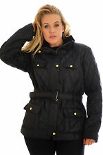 Womens Ladies Quilted Padded Button Zip Winter Jacket Coat Nouvelle Plus Size