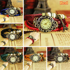 New Fashion Retro Small Tower Leather Weave Ladies Womens Quartz Wrist Watch, F4