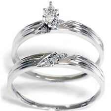 1/4CT Diamond Matching Wedding Engagement Ring Bridal Set 14K White Gold