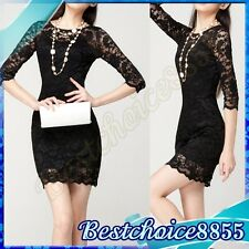 Womens Sexy Stretchy Fitted Bodycon Cocktail Prom Mini Lace Dresses Clubwear Hot