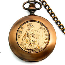 Real English Old Penny Coin Full Hunter Pocket Watch With Chain GA1547Bronze