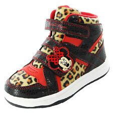 Girls SIZE 6 - 12 Black Red MINNIE MOUSE Hi Top Trainers Leopard Trim LANGLEY