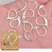 100-1000PCS Leverback Earrings Findings Sterling Silver Plate Hoop Round Earwire