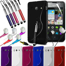 S Line Wave Gel Skin Case Cover, Film, Pen & Earphones For Huawei Ascend Y300