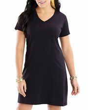 LAT Women's Comfortable Needle Hem Sleeve Bottom V Neck T-Shirt Dress. 3522
