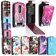 FOR NOKIA ASHA 206 NEW PRINTED PU LEATHER MAGNETIC FLIP SKIN CASE COVER
