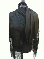 MEXICAN  FIESTA SHAWL HALF SILK FROM MEXICO. REBOZO MEDIA SEDA ECHO EN MEXICO