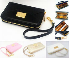 Fashion Wristlet Leather Zip WALLET CLUTCH Case Cover For Apple iPhone 4 4S LZL
