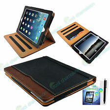 Tan Leather Smart Stand Wallet Sleep Wake Case Cover New Apple iPad Air 2, Air 1
