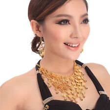 Tribal Necklace+Earring Jewelry Choker Belly Dance Costume golden & silver coins
