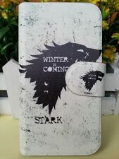 WINTER COMING STARK black wolf Game of Thrones leather flip case cover for HTC