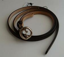 New Gucci 1973 skinny leather belt with interlocking G~ Italy 34 or 36