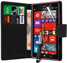 Black PU Leather Wallet Case Cover & LCD Film Bundles for Nokia Lumia 1520