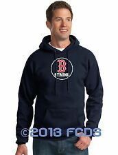 B Strong Boston Marathon Men's Comp Navy Hoody Tribute to Runners 100% Polyester