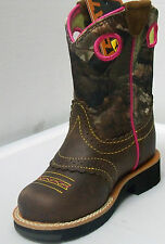 Ariat Girls Fatbaby 10008724 Cowgirl Cowboy Boots Rough Brown/Mossy Oak