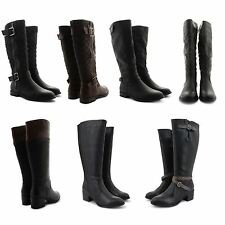 NEW LADIES RIDING WINTER FASHION ZIP UP BUCKLE KNEE HIGH EQUESTRIAN LONG BOOTS