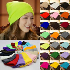 Unisex Solid Color Plain Beanie Warm Ski Cap Winter Knitting Wool Hat Cap
