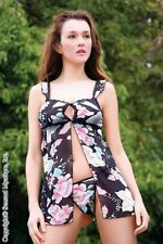 sexy SENSUAL MYSTIQUE flower FLORAL print BABY DOLL & G-STRING thong PANTY set
