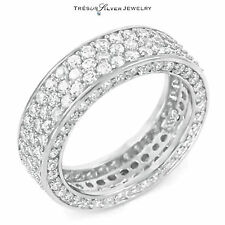 wedding cz sterling silver eternity anniversary band ring size 4 5 6 7 8 9 10 11