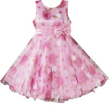 Girls Dress Pink Flower Multi-layers Wedding Pageant Kids Clothes Size 3-8 NWT