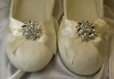 Ballet Flats Bridal Shoes With Lace and Sparkling Crystal Brooch