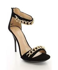 "Womens 5"" Strappy Ankle Strap High Heel Black Fuax Suede Chains Sandal Sz 5.5-10"