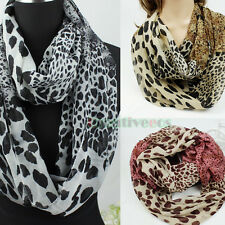 Fashion Women's Leoperd Print Infinity Loop Cowl Casual Scarf Lady Girl Shawl