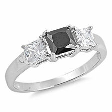 princess black clear cz 3 stone 925 silver promise ring size 5 6 7 8 9 10 womens