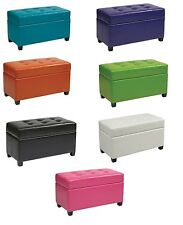 "32"" Wide Vinyl Storage OTTOMAN Bench Toy Chest w/Lift Top & Wood Legs MET804V"