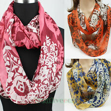 Floral Pattern Chiffon Infinity Double Loop Cowl Eternity Circle Scarf Shawl NEW