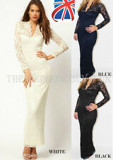 Womens Lace Floral Maxi Long Sleeve V-neck Bodycon Cocktail Prom Evening Dress