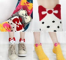 Cute Soft Girls Candy Color Cotton Dot Bowknot Ankle Socks Stockings MCFR