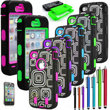 Hybrid Maze Rubber Rugged Combo Case Hard Cover Built In Film For iPhone 4G 4S
