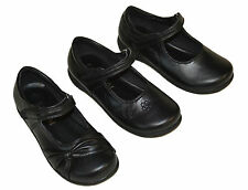 Girls Back To School Black Velcro Strap Shoes Kid`s Size 9 10 11 12 13 1 2 3 4