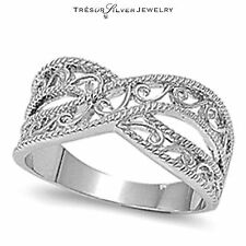 sterling silver .925 filigree design cross over band ring size 5 6 7 8 9 10