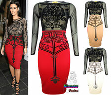 KimKardashian Celeb Mesh Insert Ladies Bodycon Kneelength Women Party Midi Dress