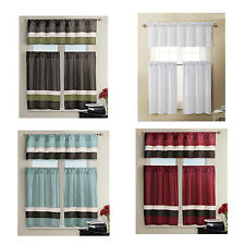 Kitchen Window Curtain Set- 1 Valance, 2 Tiers- Burgundy,Teal, Chocolate, White