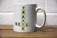 Personalized mug with custom Scrabble tile letters for text