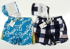 Pepe Jeans Boys Blue Turquoise Checked Swimshorts Swimwear & Bag 4 - 16 Yrs BNWT