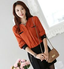 StyleOnMe_Roll up Style Blouse w/ Pocket Point_Office Look_Free Shipping_Korea
