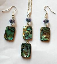 abalone shell pendant necklace and earrings set silver plated 18 inch chain