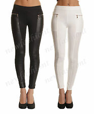 LADIES WOMEN LEATHER LOOK SKINNY LEGGING JEGGING TROUSER PANTS SIZE 8 10 12 14