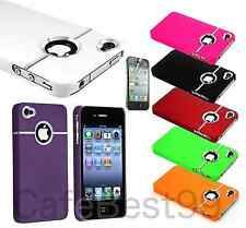 For iPhone 4 4S S Chrome Deluxe Thin Rubberized Case Cover w/Free Screen Guard