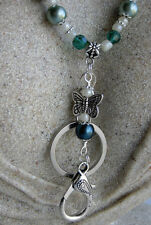 Teal Butterfly Beaded Lanyard keychain to hold ID, Keys, Thumbdrive  see options