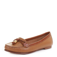 Womens Sebago Ashby Tie Tan Leather Slip On Loafers Boat Shoes Size 3-8.5