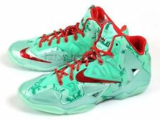 Nike LeBron 11 XI Christmas Basketball LBJ Green Glow/Light Crimson 616175-301