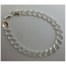 Charm Double Link Bracelet. Sterling Silver .925 Italian.  6,7, 8 inch available