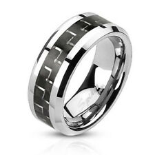 """mens ladies Ring silver """"Carbon Fiber"""" Stainless steel NEW JEWELRY from COOLBODY"""