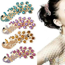 Womens Fashion Beautiful Peacock Full Crystal Rhinestones Hairpin Hair Clip B94U
